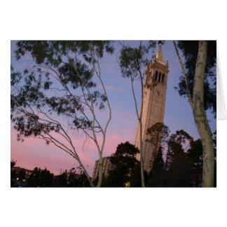 Campanile Sunset, Illuminated at Dusk Greeting Card