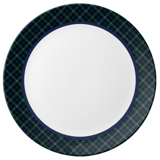 Campbell Clan Navy Blue Scottish Tartan Porcelain Plates