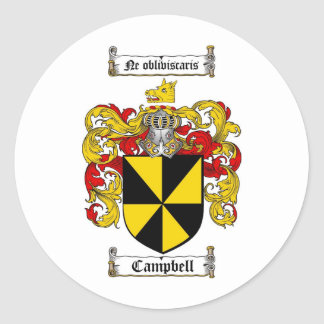 CAMPBELL FAMILY CREST -  CAMPBELL COAT OF ARMS ROUND STICKER