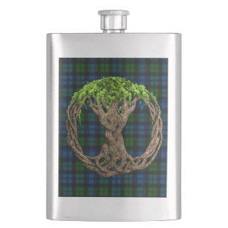 Campbell Military Tartan And Celtic Tree Of Life Hip Flask
