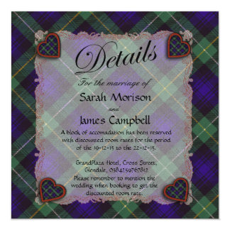 Campbell of Argyll Scottish clan tartan - Plaid 13 Cm X 13 Cm Square Invitation Card