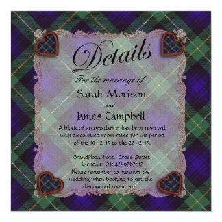 "Campbell of Argyll Scottish clan tartan - Plaid 5.25"" Square Invitation Card"