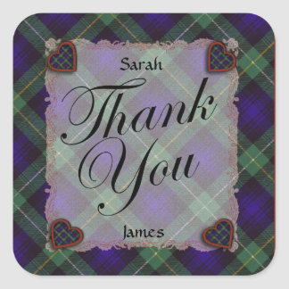 Campbell of Argyll Scottish clan tartan - Plaid Square Sticker
