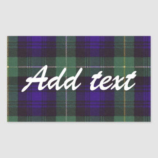 Campbell of Argyll Scottish Tartan Rectangular Sticker