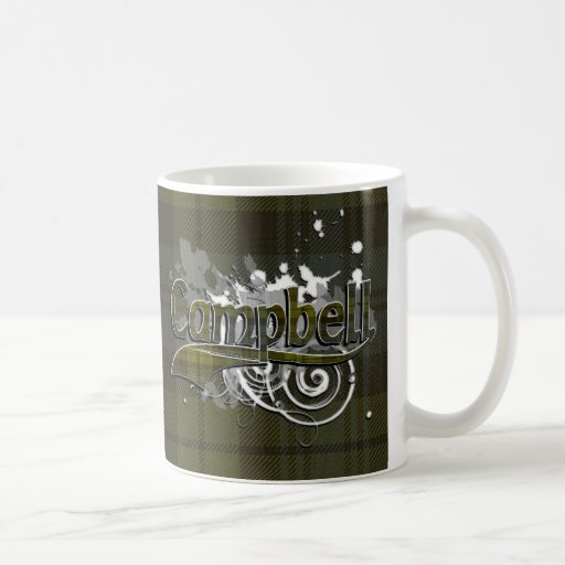Campbell Tartan Grunge Basic White Mug