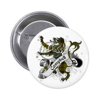 Campbell Tartan Lion 6 Cm Round Badge