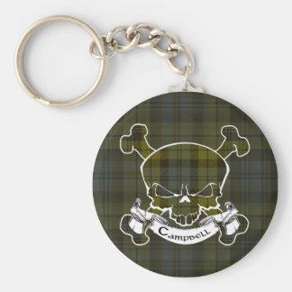 Campbell Tartan Skull Keyring Basic Round Button Key Ring