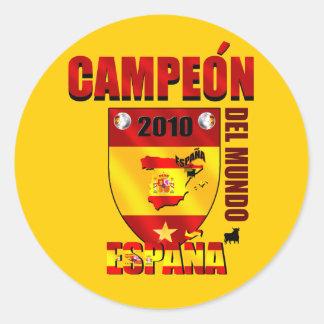 Campeón Del Mundo España Round Stickers