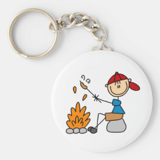 Camper Roasting Hot Dogs Tshirts and Gifts Basic Round Button Key Ring