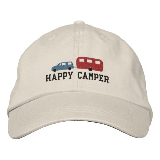 Camper Trailer and Car Happy Camper Embroidered Hat
