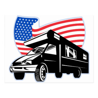 Camper van with american flag stars and stripes post cards