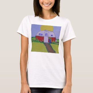 Camper with a cat on hot tin roof by Mary Masters T-Shirt