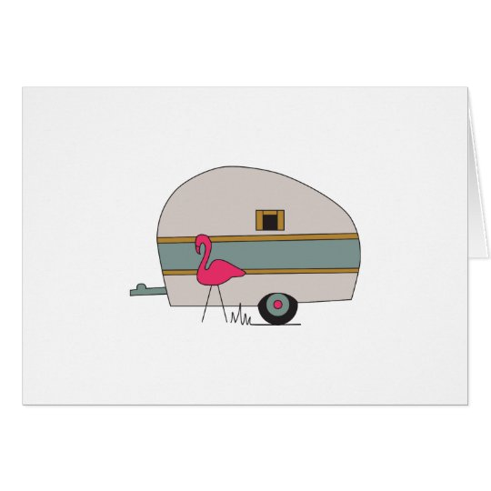Camper With Flamingo Card