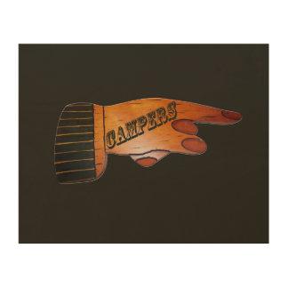 Campers Wood Finger Points Wood Print