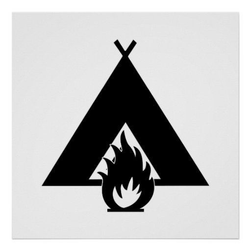 Campfire and Tent Print