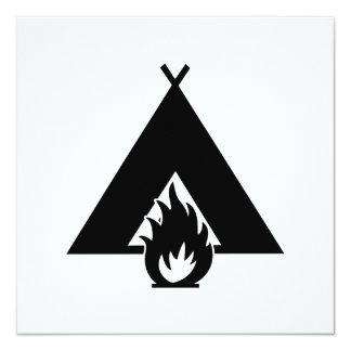 Campfire and Tent Symbol 13 Cm X 13 Cm Square Invitation Card