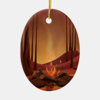 Campfire in the forest. christmas ornament