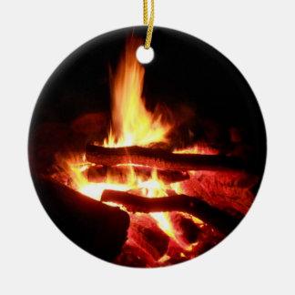 Campground Fire Round Ceramic Decoration