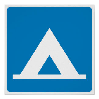Campground Highway Sign Poster