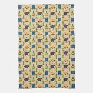 Camping Bear Pattern Tea Towel