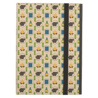 Camping Bear Rustic Pattern iPad Air Cover