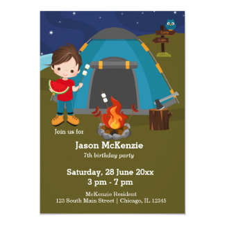 Camping birthday boy card