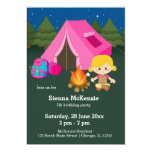 Camping birthday girl 13 cm x 18 cm invitation card