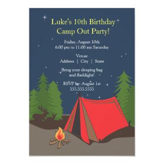 Camping Birthday Party | Boy 13 Cm X 18 Cm Invitation Card