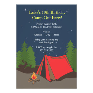 Camping Birthday Party Boy Announcement