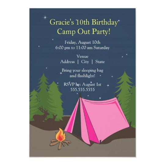 Camping Birthday Party   Girl 13 Cm X 18 Cm Invitation Card