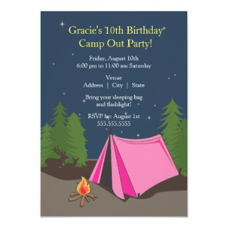 camping birthday party girl card - Camping Party Invitations