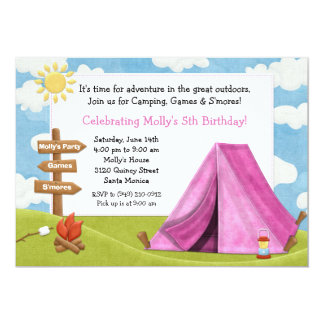 Camping Birthday Party Invitation for Girl