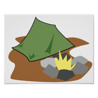 Camping By A Campfire Poster