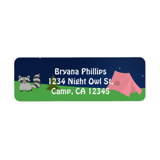 Camping Camp Out Girl Birthday Party Address Label