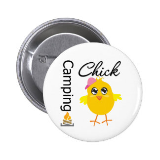 Camping Chick 6 Cm Round Badge