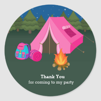 Camping Classic Round Sticker