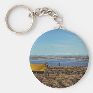 Camping Coastal Plains Basic Round Button Key Ring