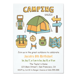 Camping Doodle Kids Birthday Party Invitations