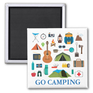 Camping Equipment Square Magnet