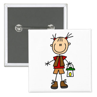 Camping Girl With Lantern Tshirts and Gifts 15 Cm Square Badge