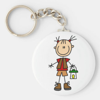 Camping Girl With Lantern Tshirts and Gifts Basic Round Button Key Ring