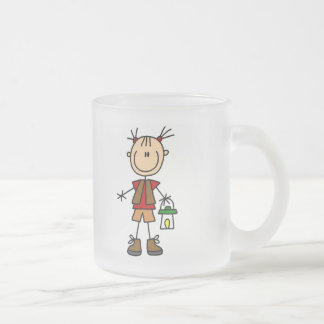 Camping Girl With Lantern Tshirts and Gifts Frosted Glass Coffee Mug