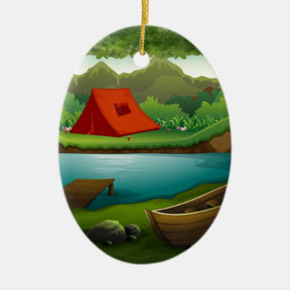 Camping ground christmas ornament