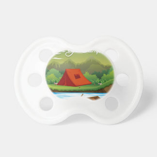 Camping ground with tent and boat baby pacifier