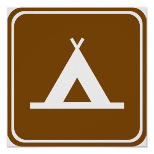 Camping Highway Sign Posters