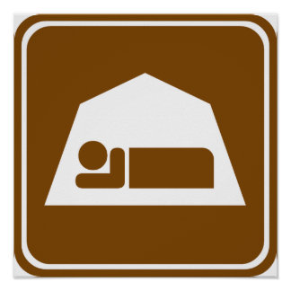 Camping Highway Sign Poster