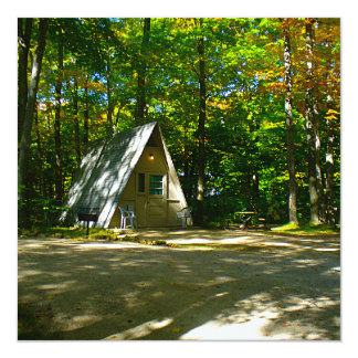 Camping in an A-Frame Cabin 13 Cm X 13 Cm Square Invitation Card