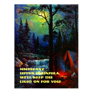 CAMPING IN MICHIGAN'S UPPER PENINSULA MI POSTCARD