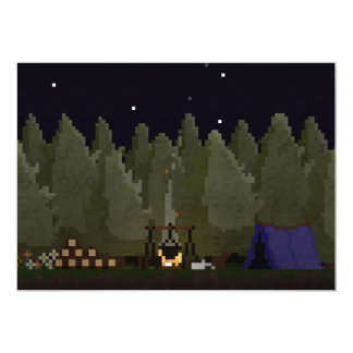 Camping in the Forest Pixel Art Invitation