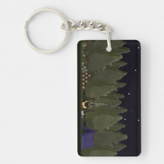 Camping in the Forest Pixel Art Key Ring